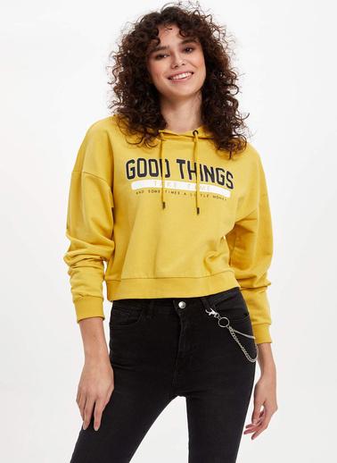 DeFacto Kapüşonlu Baskılı Sweatshirt Sarı